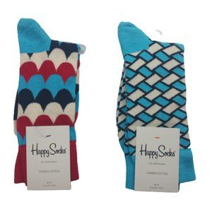 2 Pairs Happy Socks Multicolored Pattern Men's